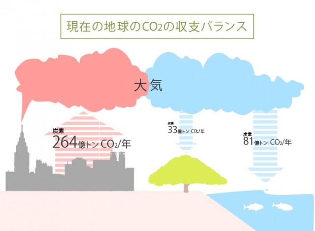 現在の地球のCO2の収支バランス