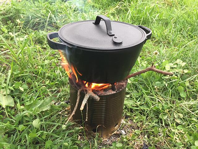 米2合の場合20~30㎝の小枝40本ほどで炊ける